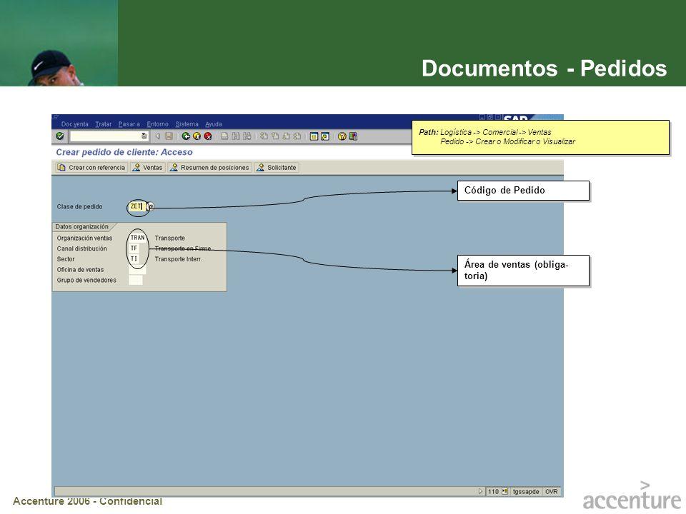 Accenture 2006 - Confidencial Documentos – Pedidos (cont.) Condición de Pago: Incide en la determinación de la fecha de vencimiento de la factura Número de Pedido (Entrega de Transporte) Número de Cliente (Solicitante) Solapas que permiten navegar por las distintas pantallas del Pedido de Ventas.