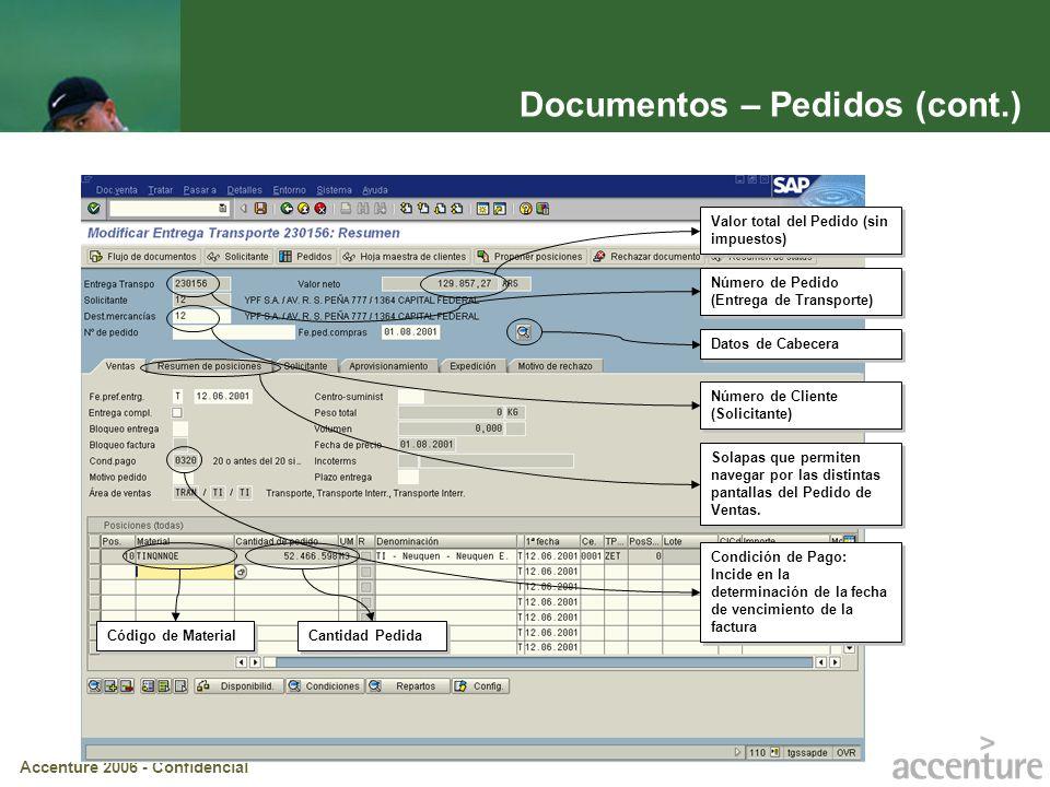 Accenture 2006 - Confidencial Documentos – Pedidos (cont.) Condición de Pago: Incide en la determinación de la fecha de vencimiento de la factura Núme
