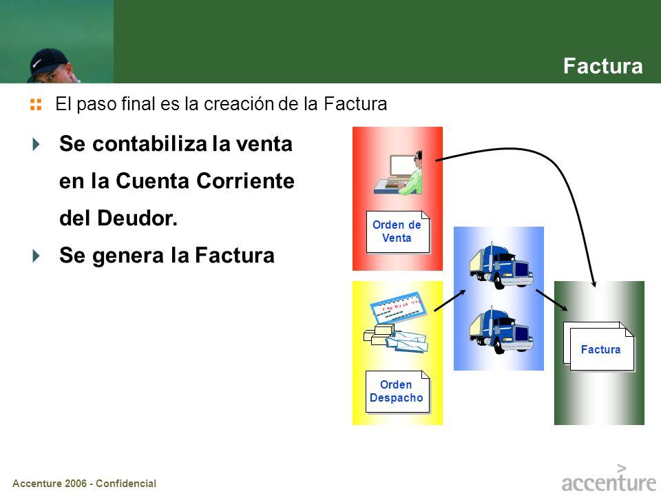 Accenture 2006 - Confidencial Factura Orden Despacho Factura Se contabiliza la venta en la Cuenta Corriente del Deudor. Se genera la Factura El paso f