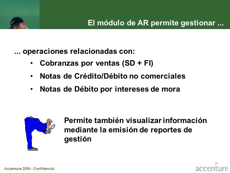 Accenture 2006 - Confidencial El módulo de AR permite gestionar...... operaciones relacionadas con: Cobranzas por ventas (SD + FI) Notas de Crédito/Dé