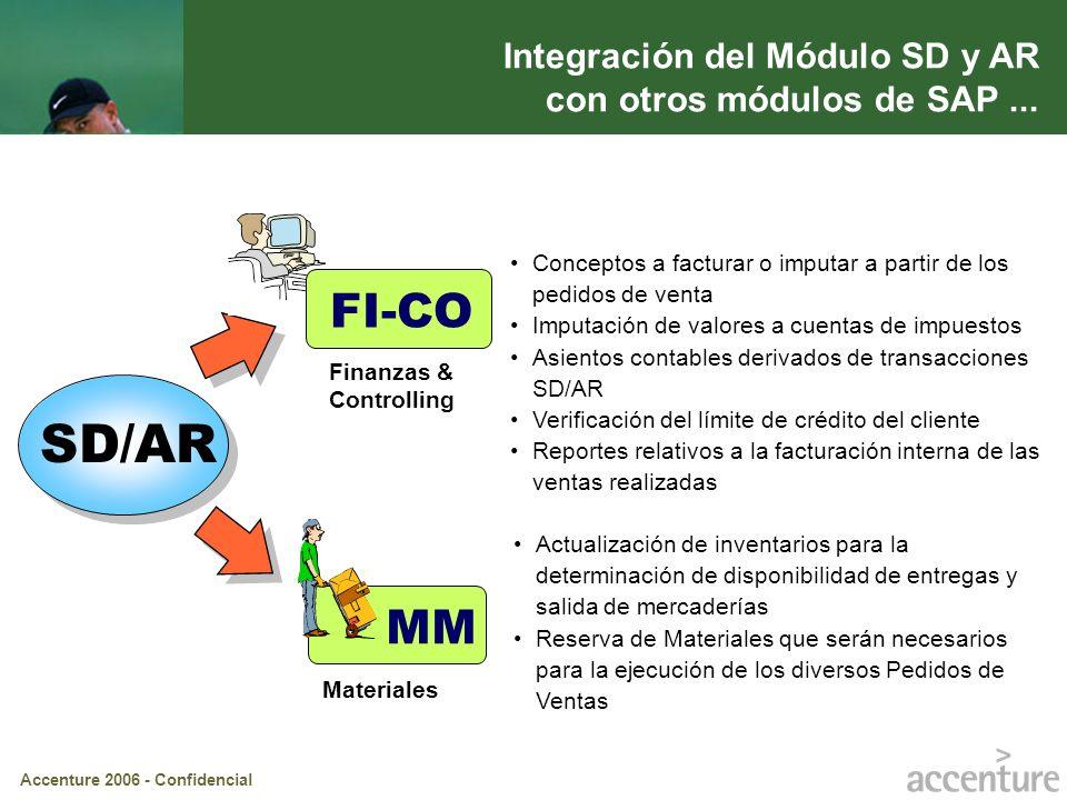 Accenture 2006 - Confidencial Integración del Módulo SD y AR con otros módulos de SAP... SD/AR MM Materiales Actualización de inventarios para la dete