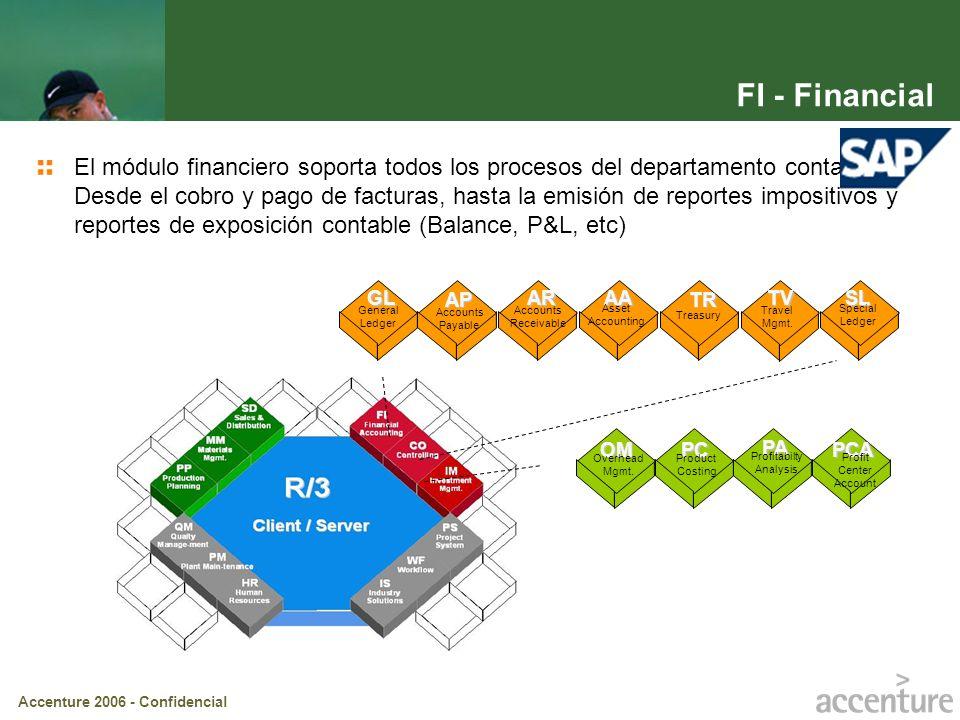 Accenture 2006 - Confidencial FI - Financial El módulo financiero soporta todos los procesos del departamento contable. Desde el cobro y pago de factu