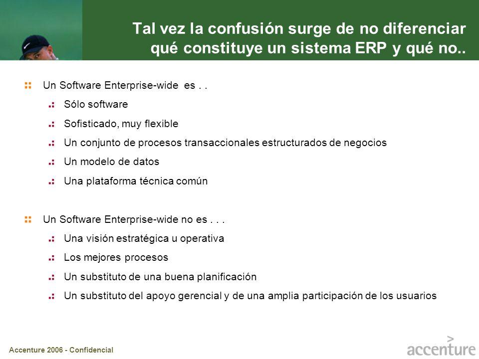 Accenture 2006 - Confidencial Gente Tecnología Procesos Estrategia Investigando las razones de éxito/fracaso de diferentes proyectos se llego a diferenciar transformar de implementar un sistema