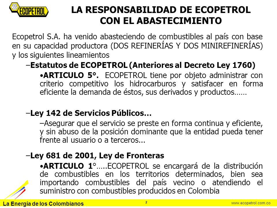 La Energía de los Colombianos www.ecopetrol.com.co 2 Ecopetrol S.A. ha venido abasteciendo de combustibles al país con base en su capacidad productora