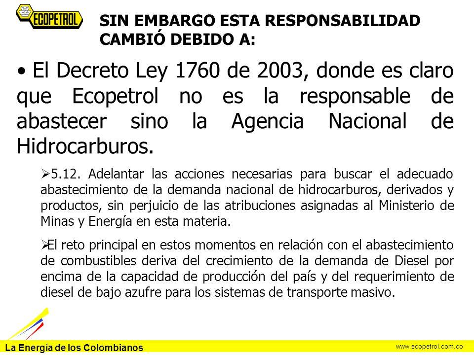La Energía de los Colombianos www.ecopetrol.com.co SIN EMBARGO ESTA RESPONSABILIDAD CAMBIÓ DEBIDO A: El Decreto Ley 1760 de 2003, donde es claro que E