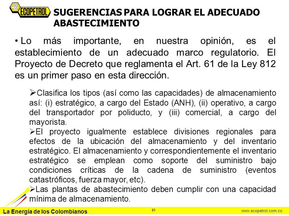 La Energía de los Colombianos www.ecopetrol.com.co 23 Lo más importante, en nuestra opinión, es el establecimiento de un adecuado marco regulatorio. E