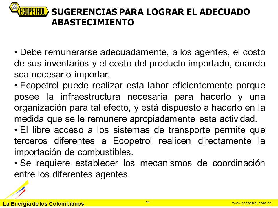 La Energía de los Colombianos www.ecopetrol.com.co 24 Debe remunerarse adecuadamente, a los agentes, el costo de sus inventarios y el costo del produc