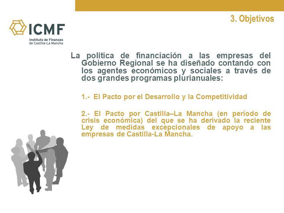 3. Objetivos La política de financiación a las empresas del Gobierno Regional se ha diseñado contando con los agentes económicos y sociales a través d