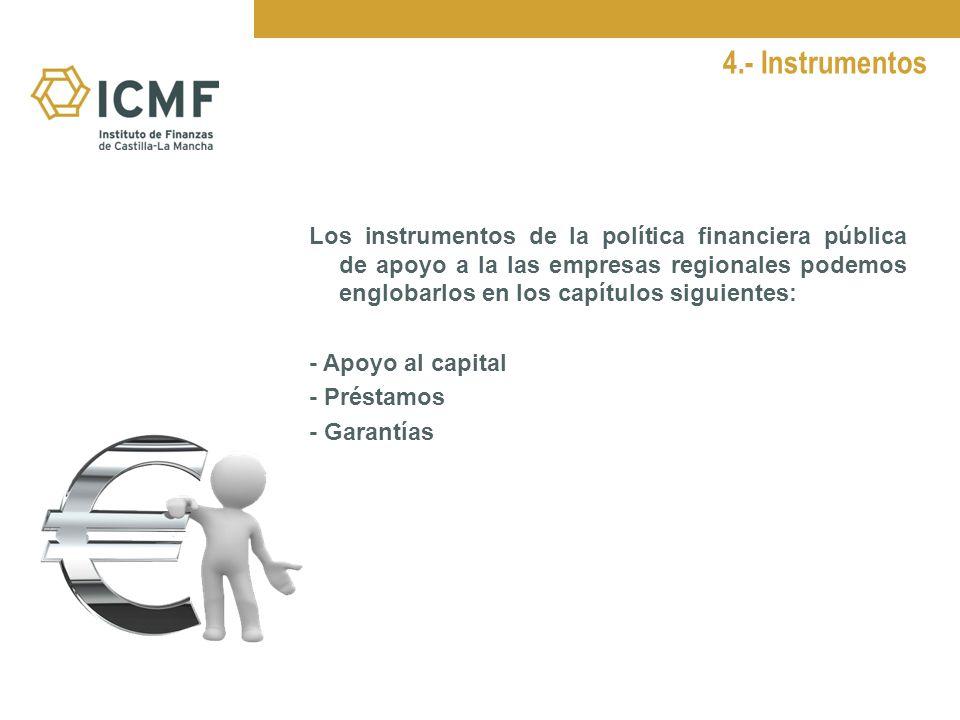 4.- Instrumentos Los instrumentos de la política financiera pública de apoyo a la las empresas regionales podemos englobarlos en los capítulos siguientes: - Apoyo al capital - Préstamos - Garantías