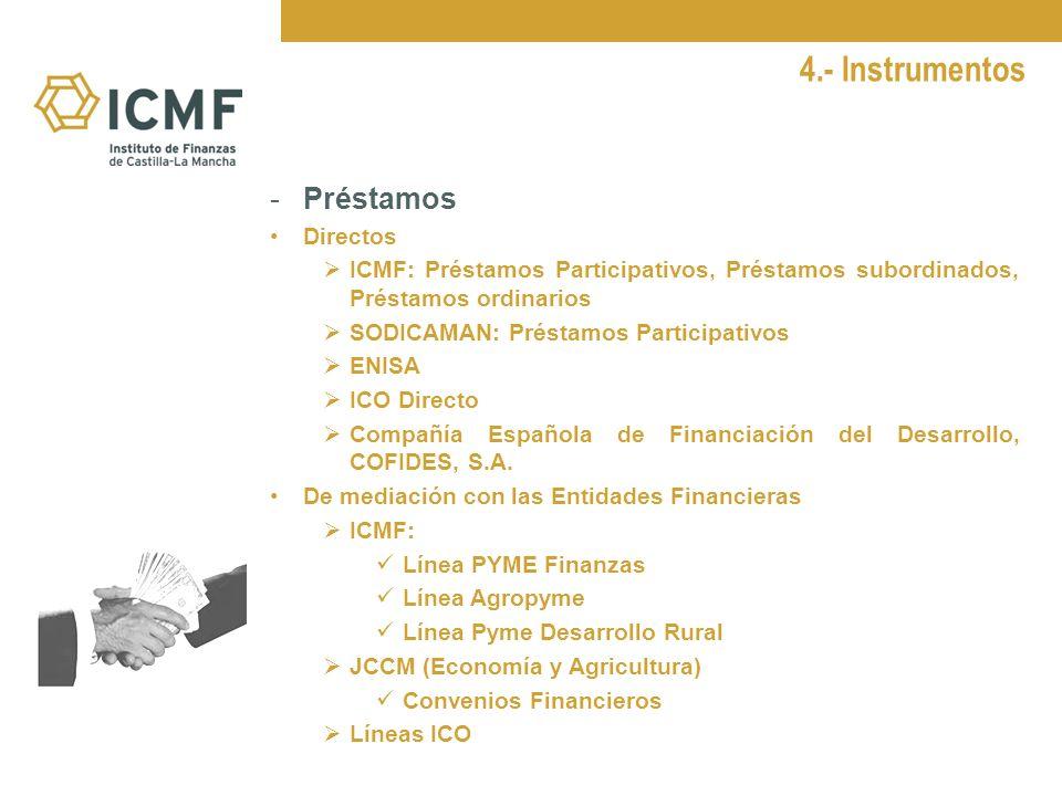 4.- Instrumentos - Garantías ICMF Garantía directa y reafianzamiento Línea ICO-Liquidez Aval CLM (Garantía a las PYMEs) ICO- SGR Compañía Española de seguros de Crédito a la exportación CESCE Sociedad Estatal de Caución Agraria SAECA