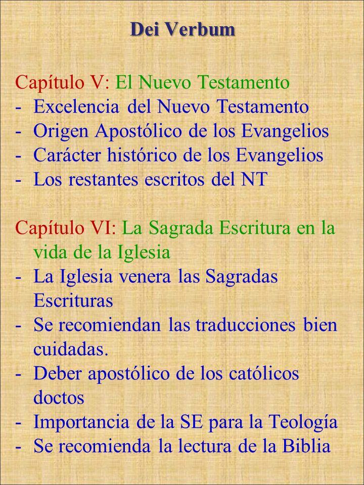 Dei Verbum Capítulo V: El Nuevo Testamento -Excelencia del Nuevo Testamento -Origen Apostólico de los Evangelios -Carácter histórico de los Evangelios