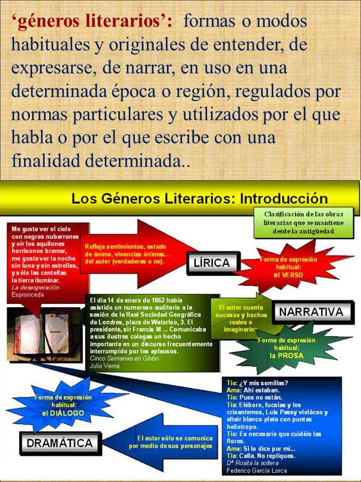 géneros literarios: formas o modos habituales y originales de entender, de expresarse, de narrar, en uso en una determinada época o región, regulados