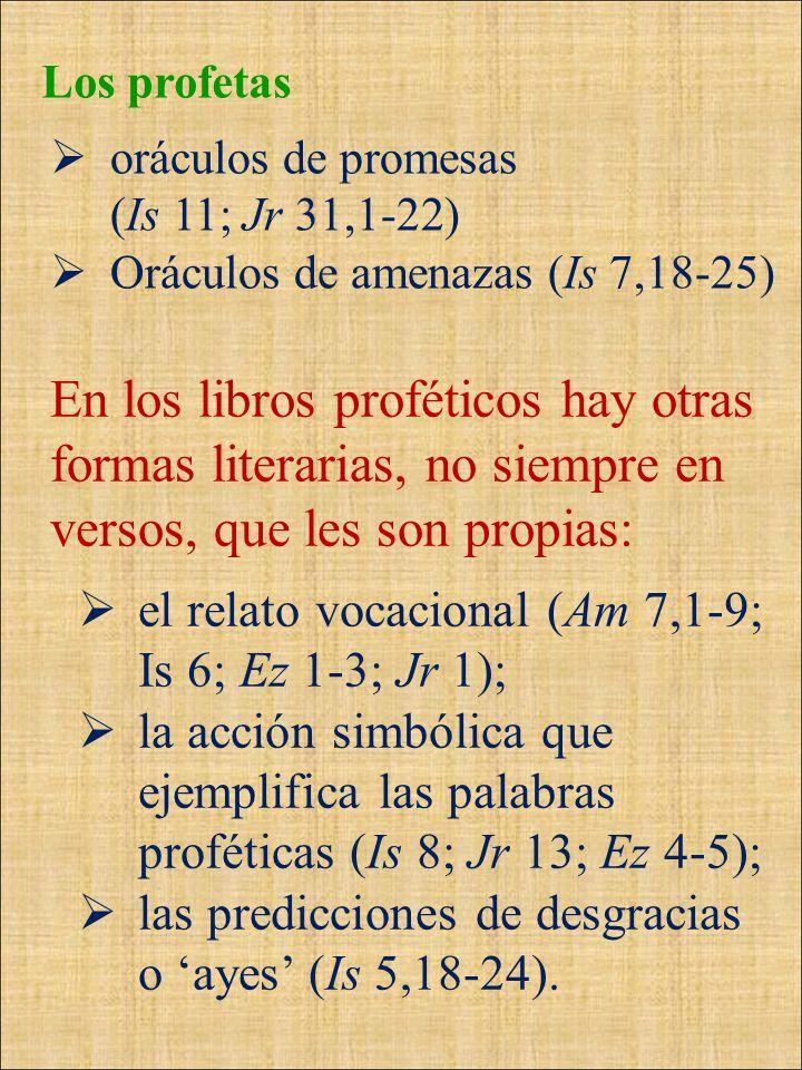 Los profetas oráculos de promesas (Is 11; Jr 31,1-22) Oráculos de amenazas (Is 7,18-25) En los libros proféticos hay otras formas literarias, no siemp