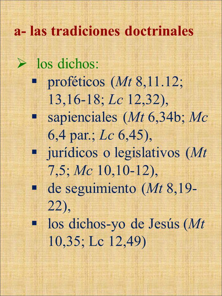 a- las tradiciones doctrinales los dichos: proféticos (Mt 8,11.12; 13,16-18; Lc 12,32), sapienciales (Mt 6,34b; Mc 6,4 par.; Lc 6,45), jurídicos o leg