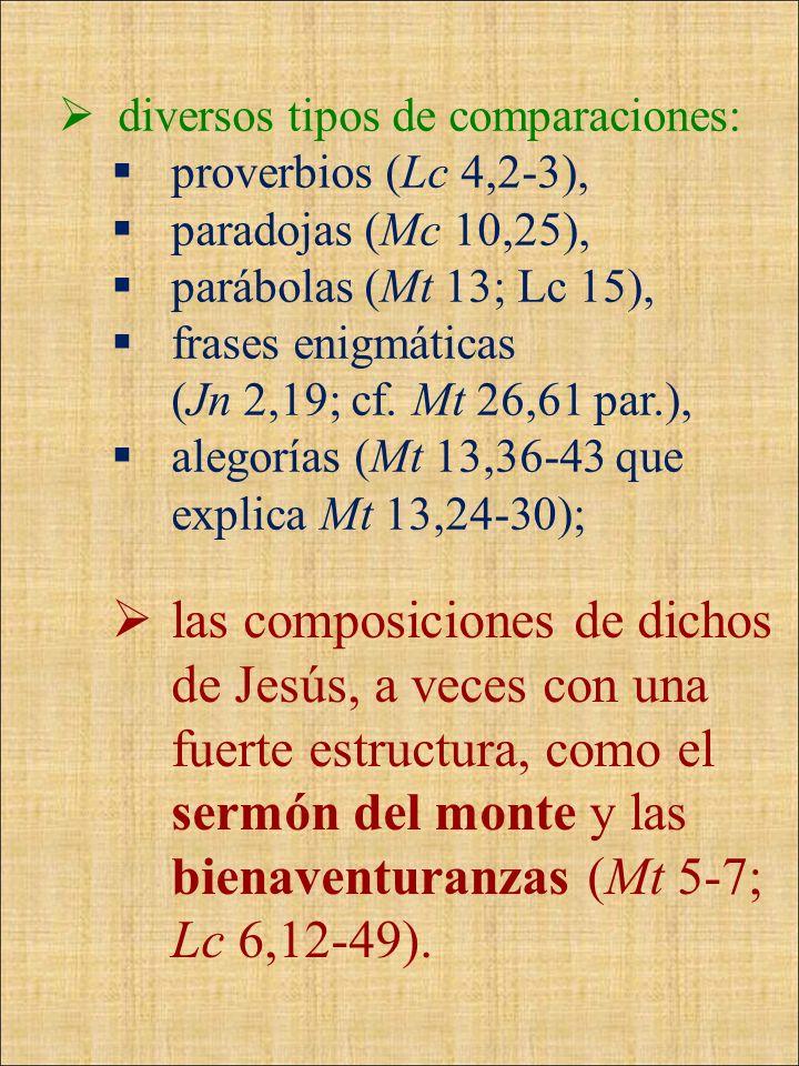 diversos tipos de comparaciones: proverbios (Lc 4,2-3), paradojas (Mc 10,25), parábolas (Mt 13; Lc 15), frases enigmáticas (Jn 2,19; cf. Mt 26,61 par.