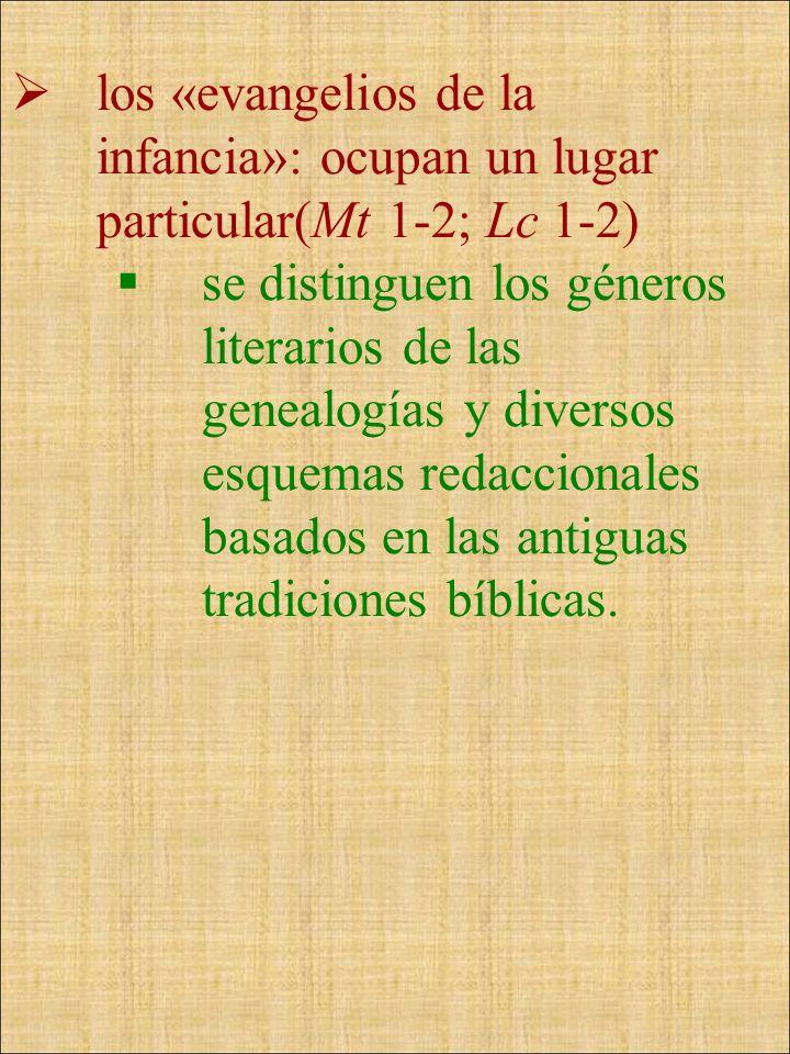 los «evangelios de la infancia»: ocupan un lugar particular(Mt 1-2; Lc 1-2) se distinguen los géneros literarios de las genealogías y diversos esquema