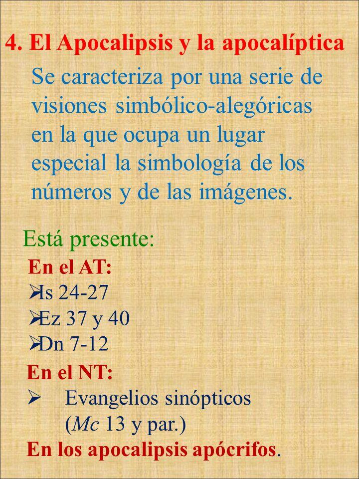 4. El Apocalipsis y la apocalíptica En el NT: Evangelios sinópticos (Mc 13 y par.) En los apocalipsis apócrifos. Está presente: En el AT: Is 24-27 Ez