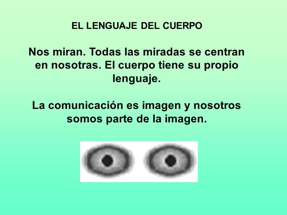 EL LENGUAJE DEL CUERPO Nos miran. Todas las miradas se centran en nosotras. El cuerpo tiene su propio lenguaje. La comunicación es imagen y nosotros s
