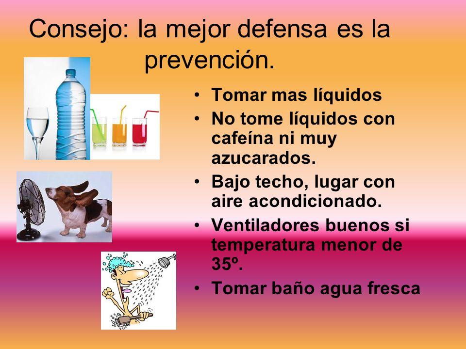Consejo: la mejor defensa es la prevención. Tomar mas líquidos No tome líquidos con cafeína ni muy azucarados. Bajo techo, lugar con aire acondicionad