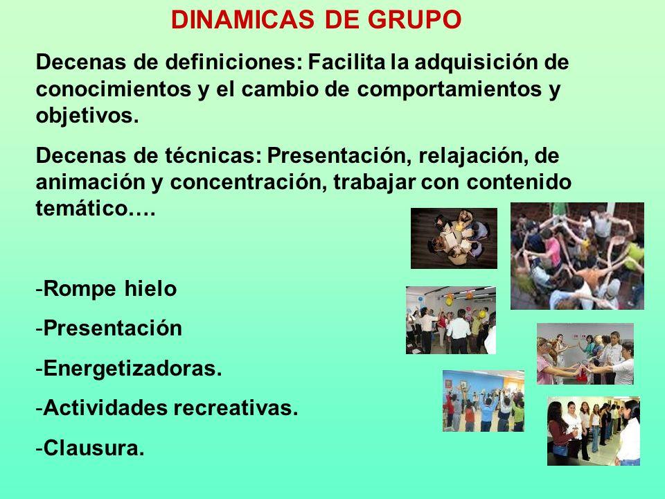 DINAMICAS DE GRUPO Decenas de definiciones: Facilita la adquisición de conocimientos y el cambio de comportamientos y objetivos. Decenas de técnicas: