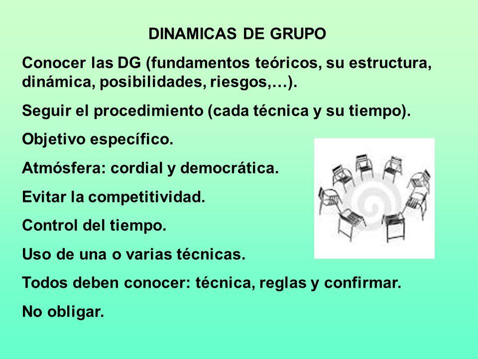 DINAMICAS DE GRUPO Conocer las DG (fundamentos teóricos, su estructura, dinámica, posibilidades, riesgos,…). Seguir el procedimiento (cada técnica y s