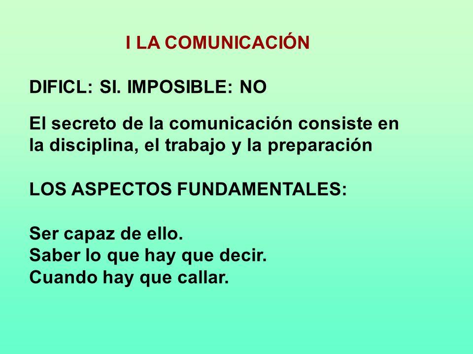 I LA COMUNICACIÓN DIFICL: SI. IMPOSIBLE: NO El secreto de la comunicación consiste en la disciplina, el trabajo y la preparación LOS ASPECTOS FUNDAMEN