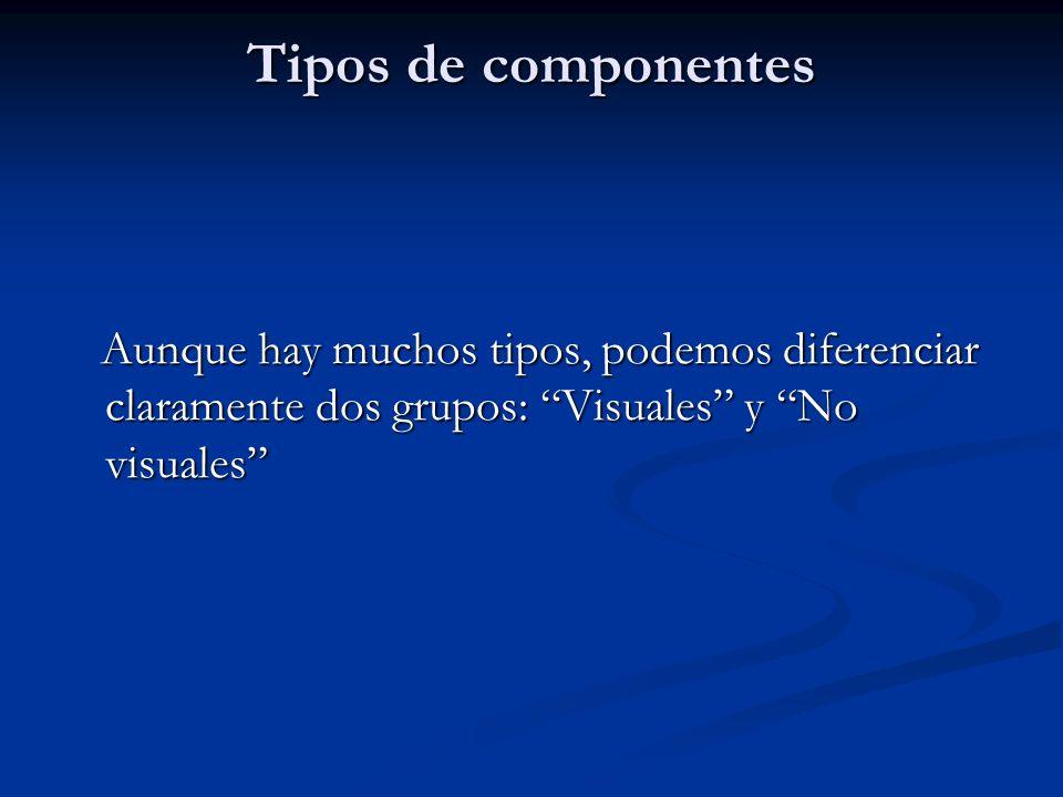 Tipos de componentes Aunque hay muchos tipos, podemos diferenciar claramente dos grupos: Visuales y No visuales Aunque hay muchos tipos, podemos difer