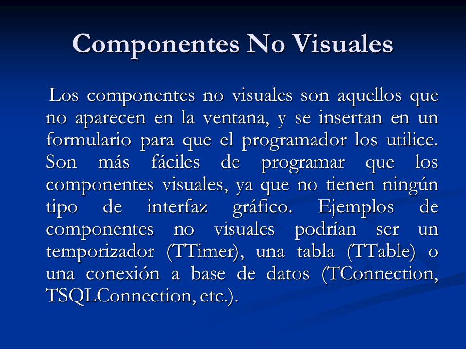 Componentes No Visuales Los componentes no visuales son aquellos que no aparecen en la ventana, y se insertan en un formulario para que el programador