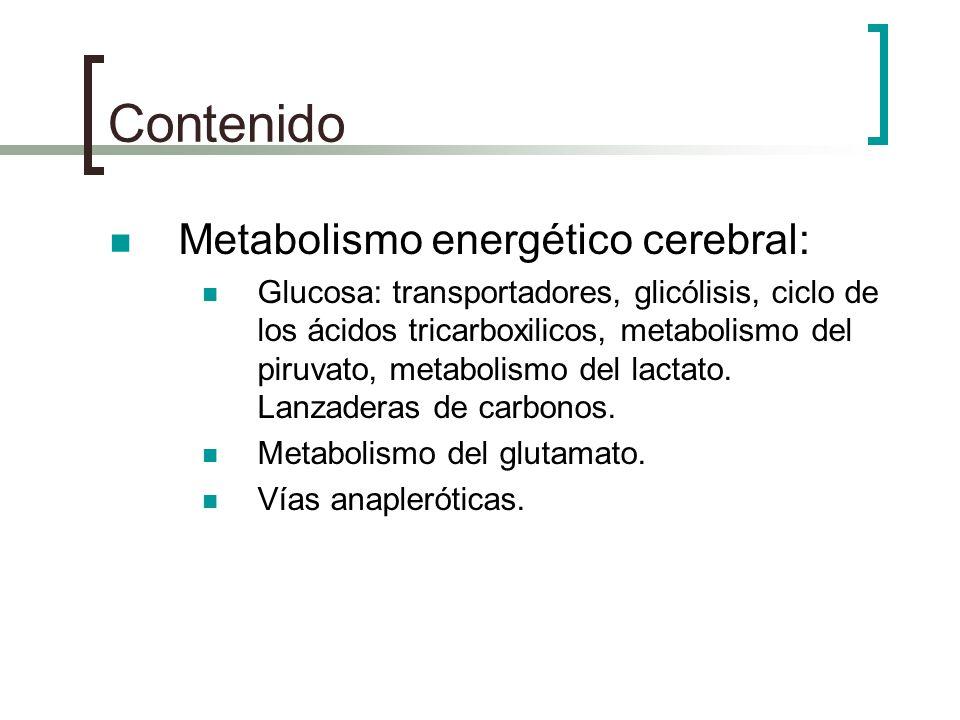 Contenido Metabolismo energético cerebral: Glucosa: transportadores, glicólisis, ciclo de los ácidos tricarboxilicos, metabolismo del piruvato, metabo
