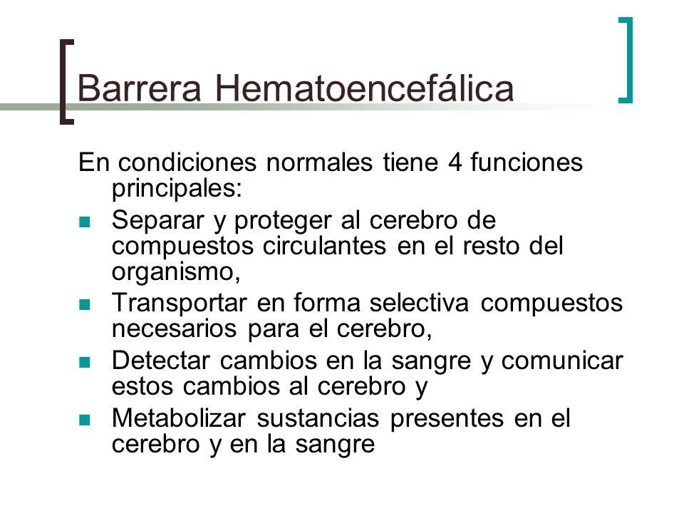 Barrera Hematoencefálica En condiciones normales tiene 4 funciones principales: Separar y proteger al cerebro de compuestos circulantes en el resto de
