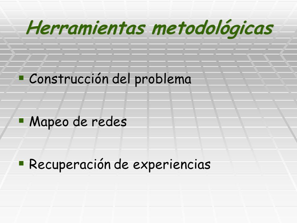 Herramientas metodológicas Construcción del problema Mapeo de redes Recuperación de experiencias