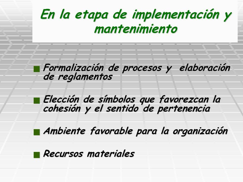 En la etapa de implementación y mantenimiento Formalización de procesos y elaboración de reglamentos Formalización de procesos y elaboración de reglam