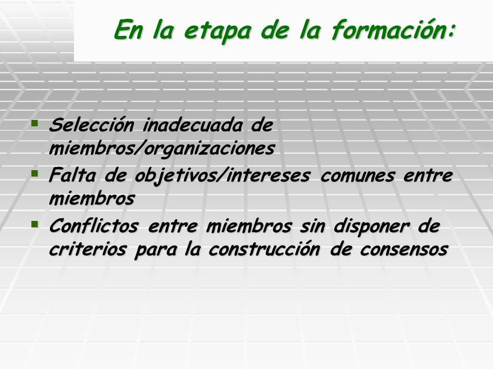 En la etapa de la formación: Selección inadecuada de miembros/organizaciones Selección inadecuada de miembros/organizaciones Falta de objetivos/intere