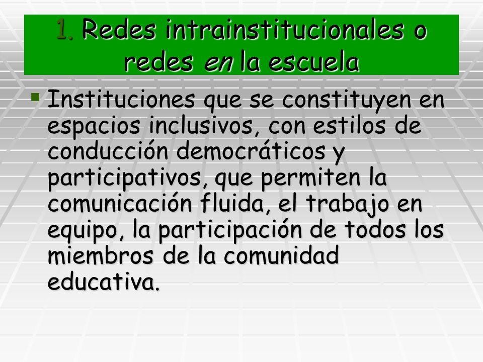 1. Redes intrainstitucionales o redes en la escuela Instituciones que se constituyen en espacios inclusivos, con estilos de conducción democráticos y