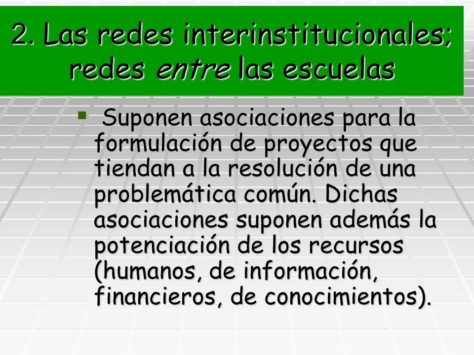 2. Las redes interinstitucionales; redes entre las escuelas Suponen asociaciones para la formulación de proyectos que tiendan a la resolución de una p