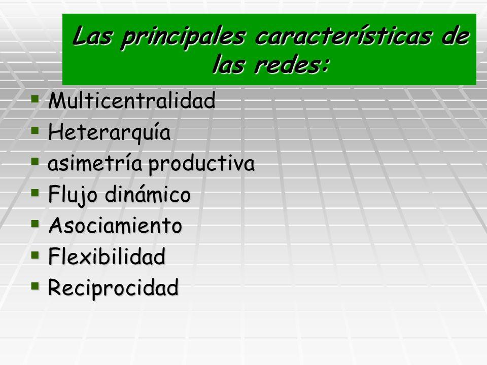 Las principales características de las redes: Multicentralidad Multicentralidad Heterarquía Heterarquía asimetría productiva asimetría productiva Fluj
