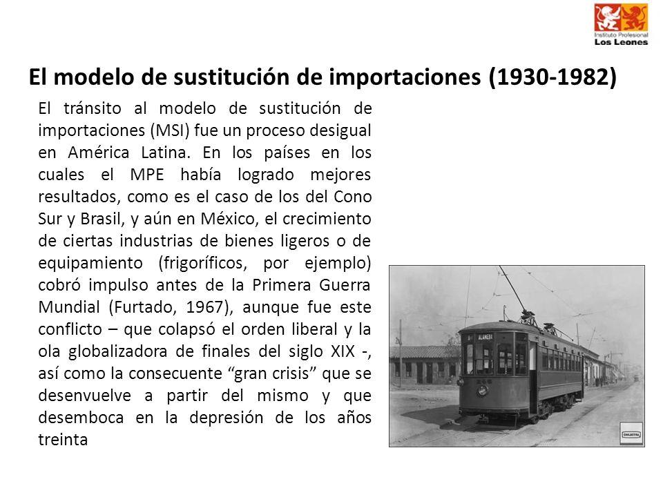 El modelo de sustitución de importaciones (1930-1982) El tránsito al modelo de sustitución de importaciones (MSI) fue un proceso desigual en América L