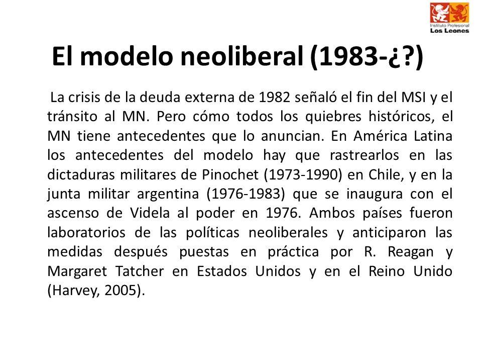 El modelo neoliberal (1983-¿?) La crisis de la deuda externa de 1982 señaló el fin del MSI y el tránsito al MN. Pero cómo todos los quiebres histórico