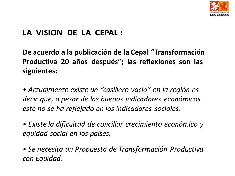 LA VISION DE LA CEPAL : De acuerdo a la publicación de la Cepal Transformación Productiva 20 años después; las reflexiones son las siguientes: Actualm