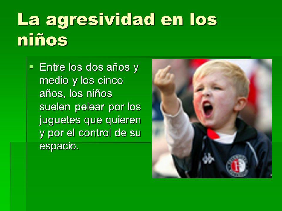 La agresividad en los niños Entre los dos años y medio y los cinco años, los niños suelen pelear por los juguetes que quieren y por el control de su e