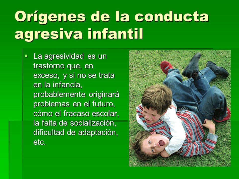 Orígenes de la conducta agresiva infantil La agresividad es un trastorno que, en exceso, y si no se trata en la infancia, probablemente originará prob