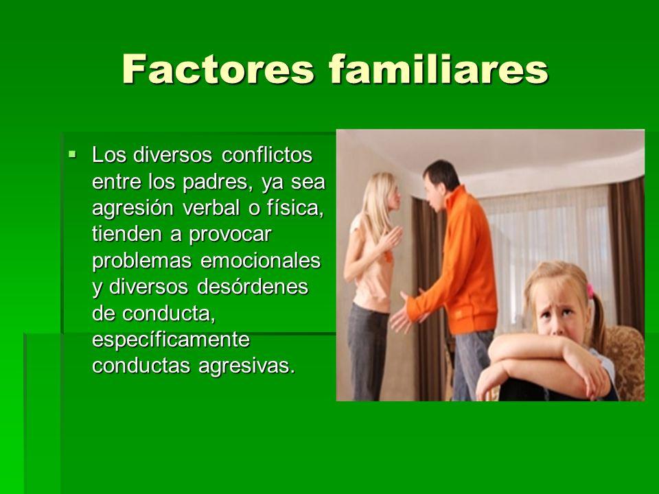 Factores familiares Los diversos conflictos entre los padres, ya sea agresión verbal o física, tienden a provocar problemas emocionales y diversos des