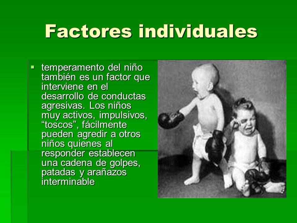 Factores individuales temperamento del niño también es un factor que interviene en el desarrollo de conductas agresivas. Los niños muy activos, impuls