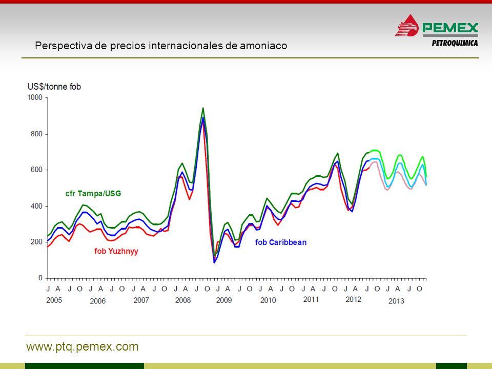 www.ptq.pemex.com Perspectiva de precios internacionales de amoniaco