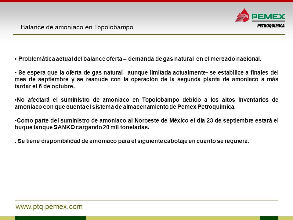 www.ptq.pemex.com Balance de amoniaco en Topolobampo Problemática actual del balance oferta – demanda de gas natural en el mercado nacional. Se espera