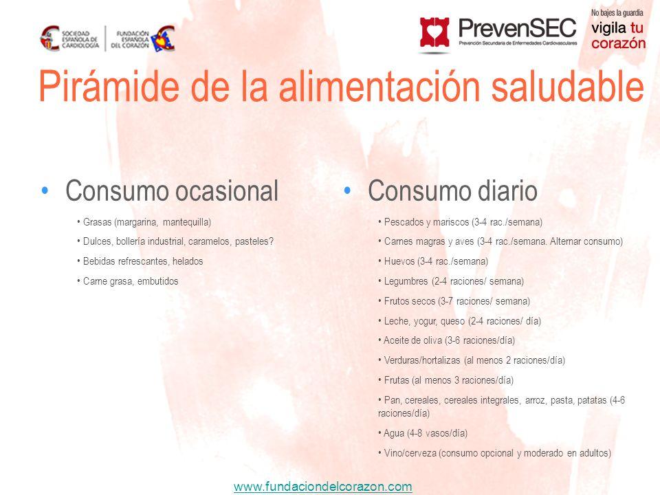 www.fundaciondelcorazon.com Pirámide de la alimentación saludable Consumo ocasionalConsumo diario Grasas (margarina, mantequilla) Dulces, bollería ind