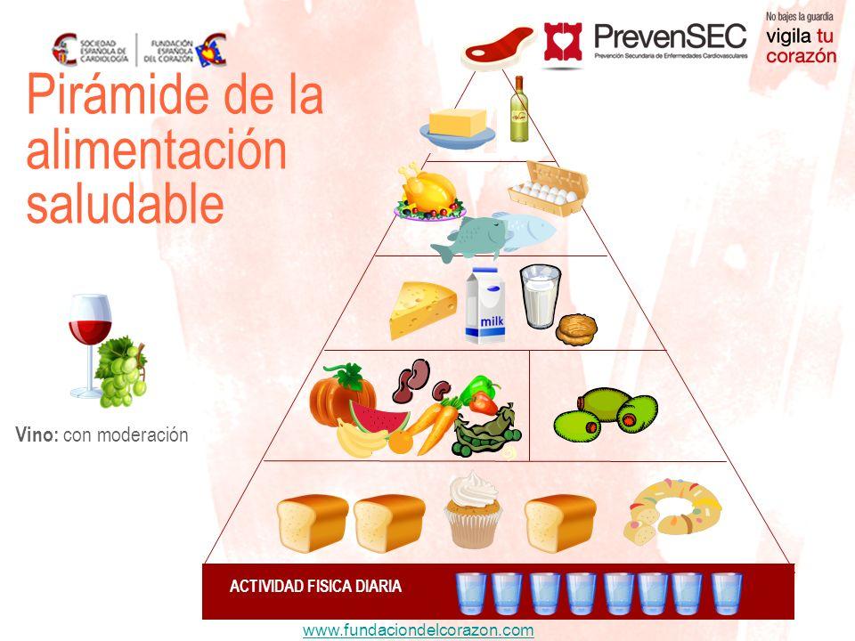 www.fundaciondelcorazon.com Vino: con moderación ACTIVIDAD FISICA DIARIA Pirámide de la alimentación saludable