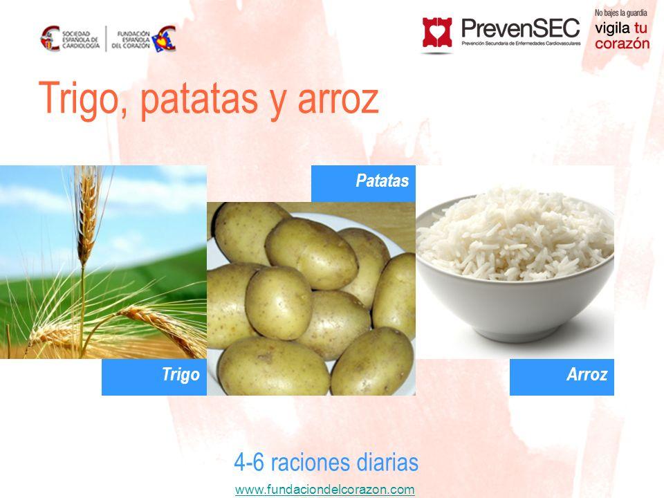 www.fundaciondelcorazon.com Trigo, patatas y arroz 4-6 raciones diarias Trigo Patatas Arroz