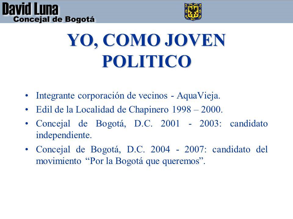 YO, COMO JOVEN POLITICO Integrante corporación de vecinos - AquaVieja. Edil de la Localidad de Chapinero 1998 – 2000. Concejal de Bogotá, D.C. 2001 -