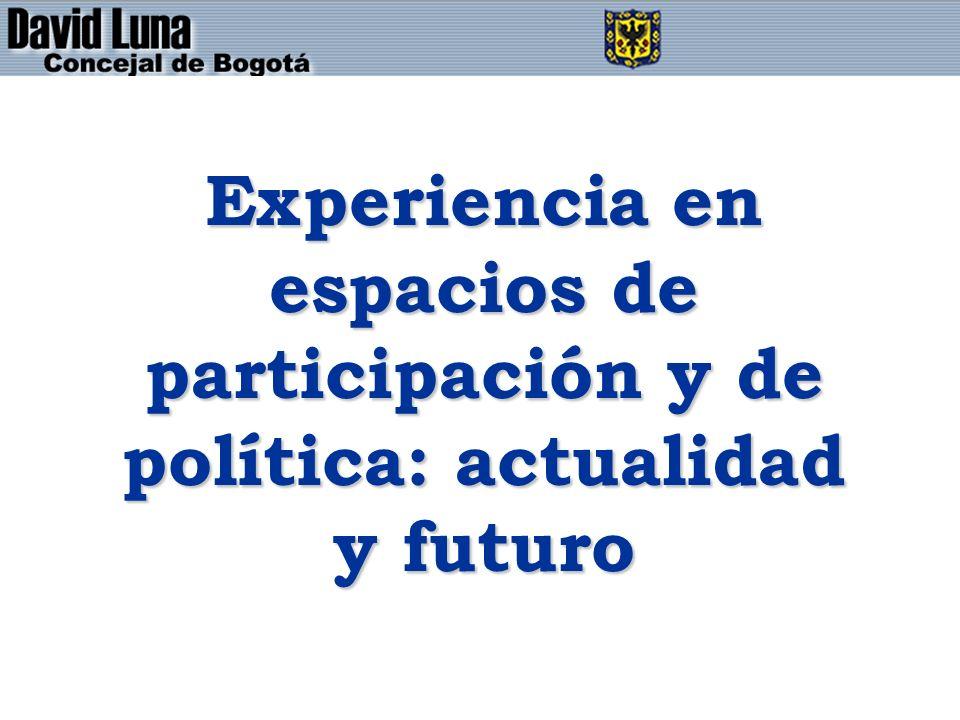 Experiencia en espacios de participación y de política: actualidad y futuro